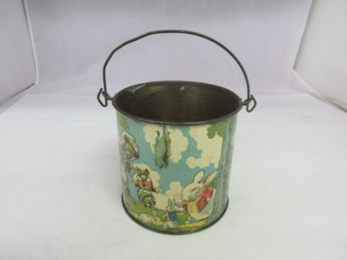 VINTAGE ADVERTISING PETER RABBIT CANDY PEANUT BUTTER TINDECO TIN PAIL  A-27