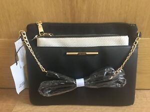 RIVER ISLAND Women's Black Cross Body Bag And Cream Pouchette new WITH TAGS