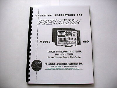 Manual Precision Paco 660 Tube Tester Instructions Schematic Tube Data More