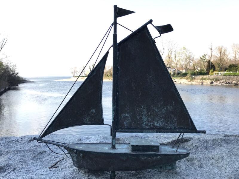 Vintage Copper Boat Schooner Weathervane  Nice