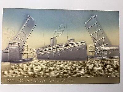North West Ave Bridge Chicago Illinois IL Vintage Postcard