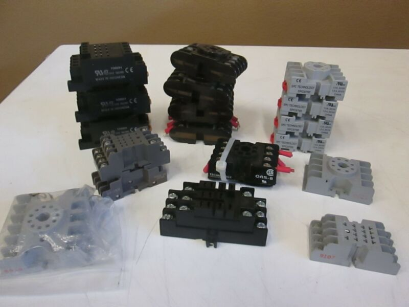 Assortment of Base Socket for Relays, Used Lot of 19