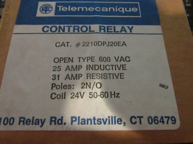 Gould Telemecanique Definite Purpose Contactor 2210DPJ20EA Amp: 25 Inductive