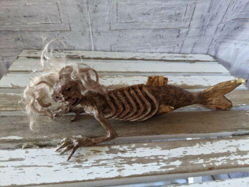 Scary skeleton mermaid Halloween props mini table decor