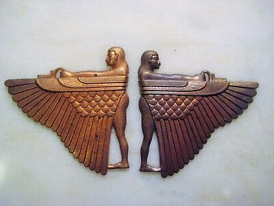 Rare Vintage Art Deco Brass Stampings 1930s Egyptian Revival Winged Goddess Isis