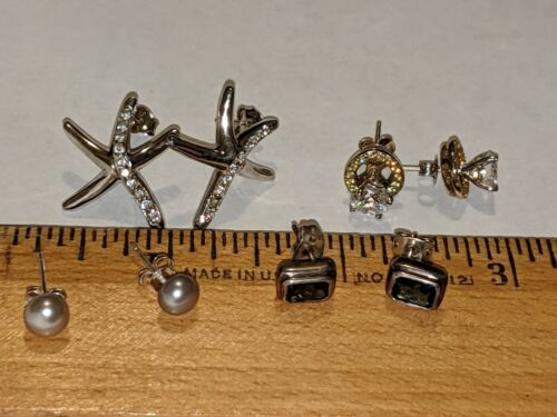 4 LOT STERLING SILVER 925 STUD EARRINGS