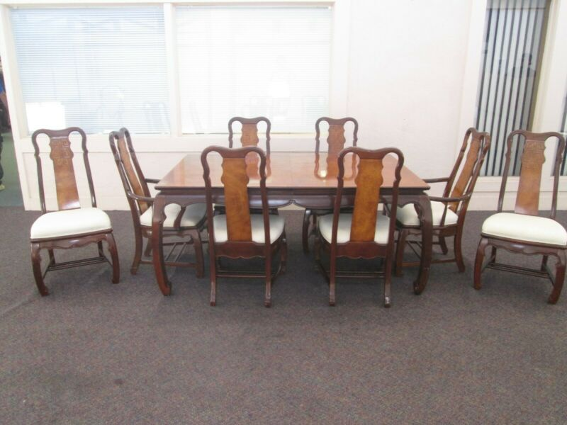 Asian Style Burl Wood Dining Table 8 Upholstered High Back Decorative Chairs