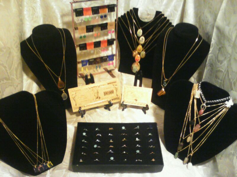 70+Pc.MIXED~LOT☆GOLD$100+RINGS/EARRINGS/GEMSTONES&CAB Necklaces &MORE! FREE-S&H