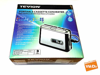 TEVION PORTABLE TAPE CASSETTE MP3 Converter Captue Adapter Audio CD Music Player
