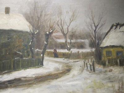 Ölbild: Winterliche Dorfgasse; sign.; datiert 22
