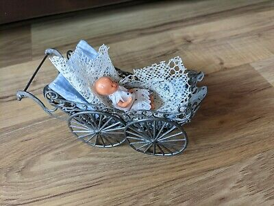 Vintage Mini Metal Baby Carriage With Plastic Doll
