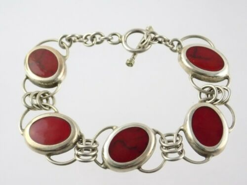Mexico Sterling Silver Red Jasper Inlay Link Bracelet Toggle Clasp 925 33.5g