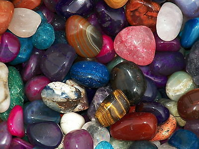 2000 Carat Lots of Size #6 Tumbled Polished Gemstones + A FREE Faceted Gemstone