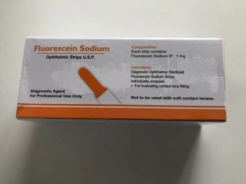 Fluorescein Strips Box 100. Individually Packaged Sterile 1mg Exp: Oct. 2024