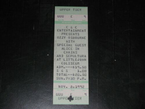 ALICE IN CHAINS&OZZY OSBOURNE 1992 CONCERT TICKET STUB**SUPER RARE**MAY 8, 1992*