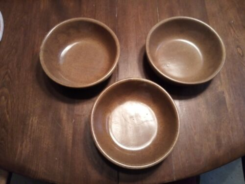 Set of 3 Monmouth Pottery Mojave Brown Coupe Cereal Bowls Maple Leaf USA