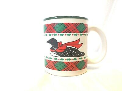 "Vintage Christmas Green Red Duck Goose Bow Holly Plaid Coffee Tea Cup Mug 4"""