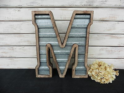 Large WOOD & CORRUGATED METAL - Wedding Home Family - Wall INDUSTRIAL LETTER M