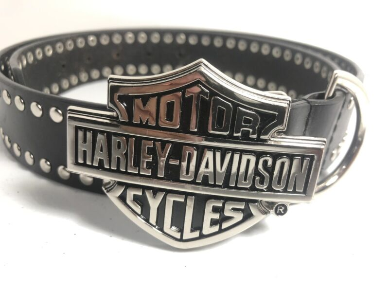 Harley Davidson Motorcycles Genuine Leather Belt & Buckle Size 36