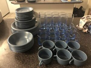58 Piece Plates and Glasses Set Used