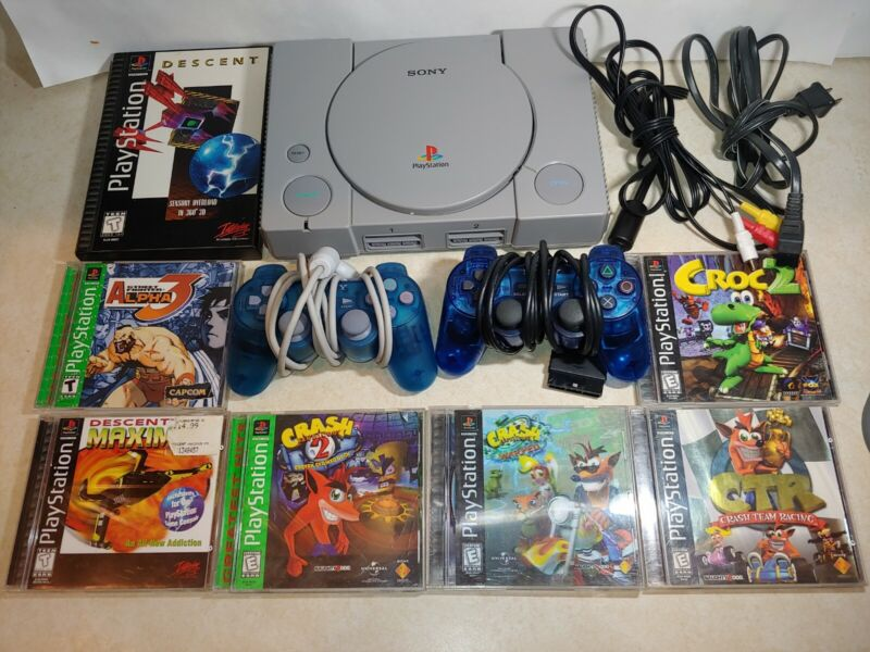 Playstation 1 Ps1 Console Video Game Bundle Lot Controllers Cables ALL TESTED