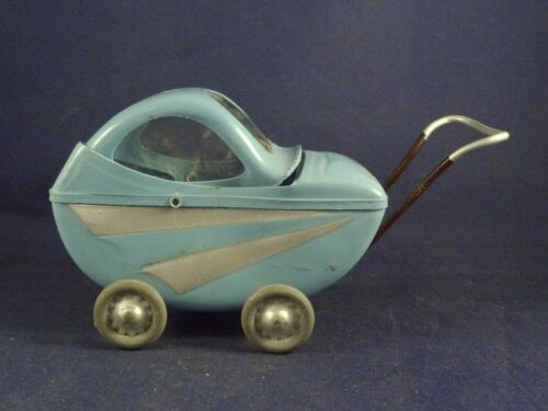 Vintage rare celluloid toy little baby carriage stroller 1950 France Very good.