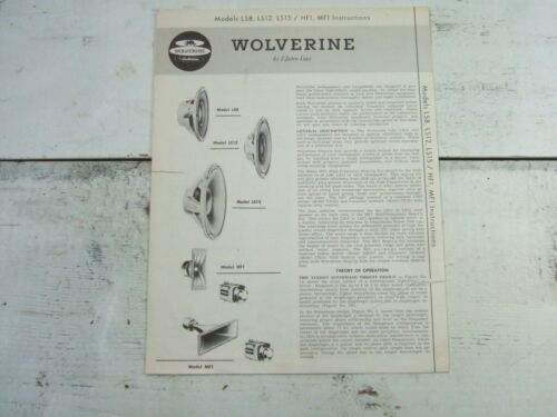Vtg Wolverine Loudspeakers by Electro-Voice LS8 LS12 LS15 HF1 MF1 Instructions