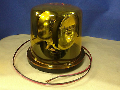 Vintage Low Profile Amber Rotating Beacon Emergency Signal Light 12vdc  2-bulb
