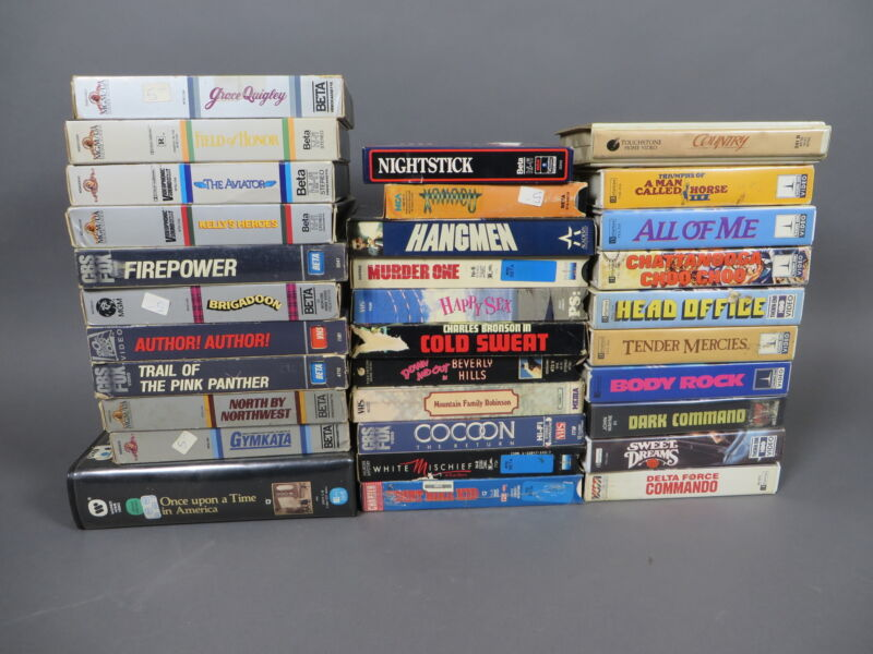 Lot of 32 Vintage Betamax Beta Movie Tapes Horror Sci-Fi Comedy Action Clamshell