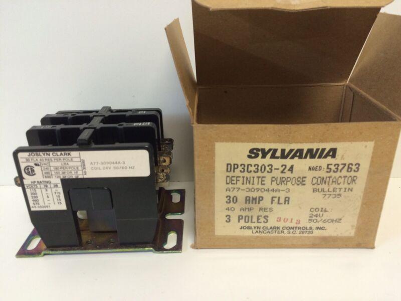 NOS! IN BOX SYLVANIA JOSLYN CLARK 3-POLE CONTACTOR DP3C303-24 A77-309044A-3