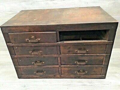 Vintage Wood 8 Drawer Parts Storage Cabinet Machinist Shop - Missing 1 Drawer