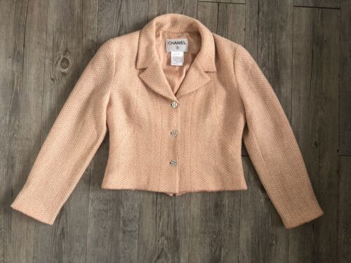 Chanel - veste tweed beige orange - chanel jacket
