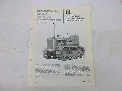 International Harvester Td6 Agricultural Crawler Tractor Specifications Brochure