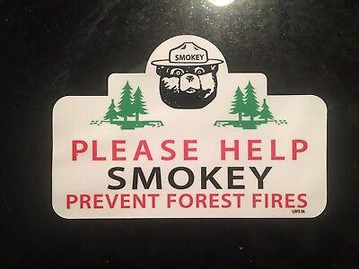 "Smokey Bear Decal OLD SCHOOL 1956 window Travel Please Help 3"""
