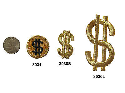 Embroidery Sign - Lot 2Pcs Golden Dollar sign $ Embroidery Iron On Applique Patch