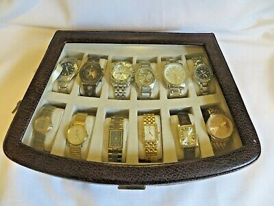 Lot of 12 Men's Wrist Watches Impressive Running Display Case