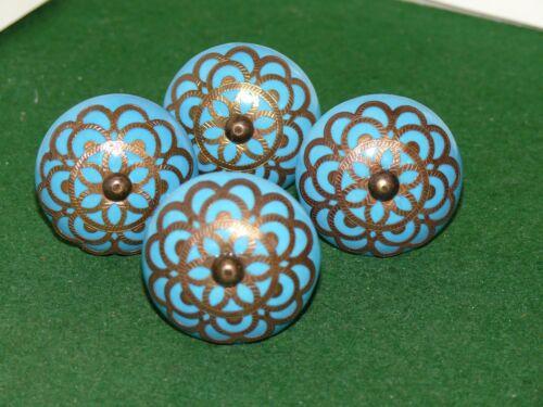 VINTAGE SET Of 4 turquoise ceramic brass filigree drawer pulls knob