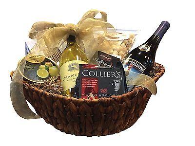 Bountiful Pinot Noir & Chardonnay Wine, Cheese, Crackers & Chocolate Gift Basket