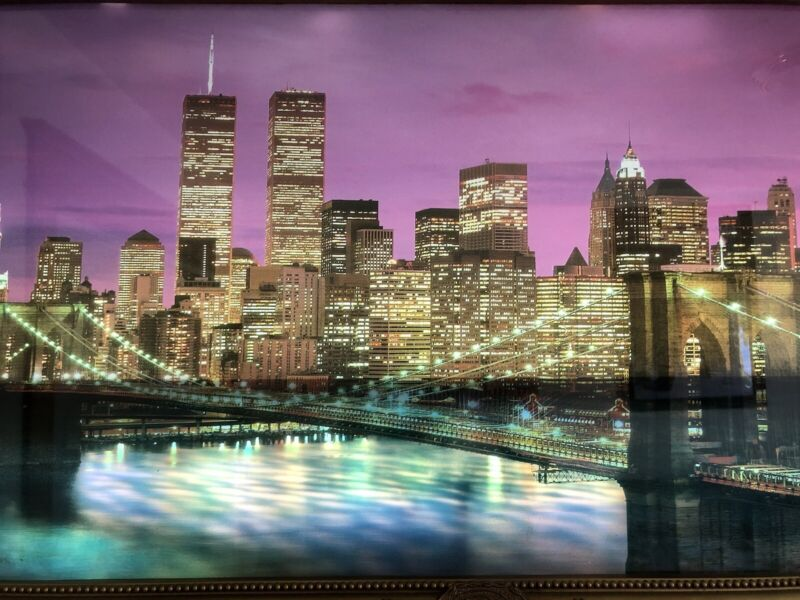 Vintage Light Up & Sound Moving Water New York City Twin Towers Skyline Picture