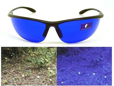 Golf Ball Finding Glasses Sunglasses Blue Lens  Sports Wrap Black Plastic Frame - Golf Ball Sunglasses