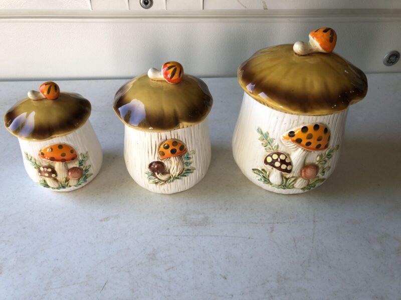 """VTG Sears and Co. Mushroom Canisters Set of 3 """"Merry Mushroom"""" 1970"""