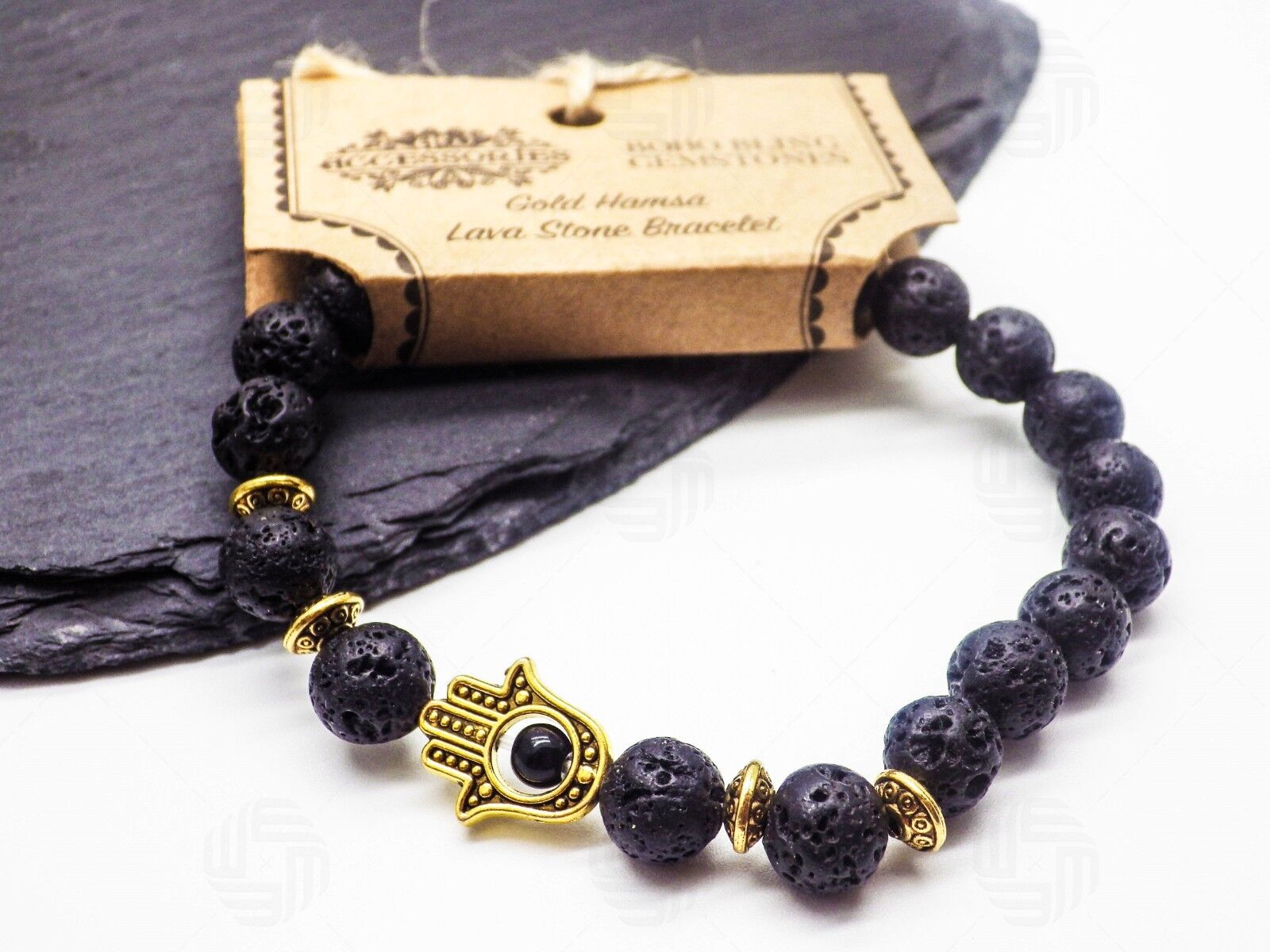 Tiger Eye Hamsa Lava Stone Gemstone Bracelet Hand of Fatima Islam Muslim Gift UK