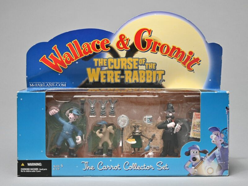 NEW! WALLACE & GROMIT  THE CURSE OF THE WERE-RABBIT CARROT COLLECTOR SET