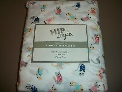 Hip Style 4 Piece Colorful Cats Pattern Microfiber King Sheet Set~NIP - Cat Coloring Sheet