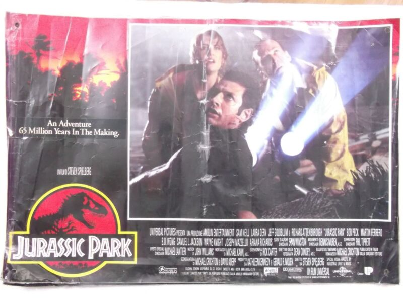 JURASSIC PARK steven spielberg 1993 3pc ENGLISH 24x16.5 Orig LOBBY CARD INDIA