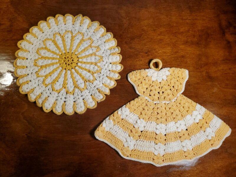 Vintage Yellow White Crochet Trivet Doilie & Potholder