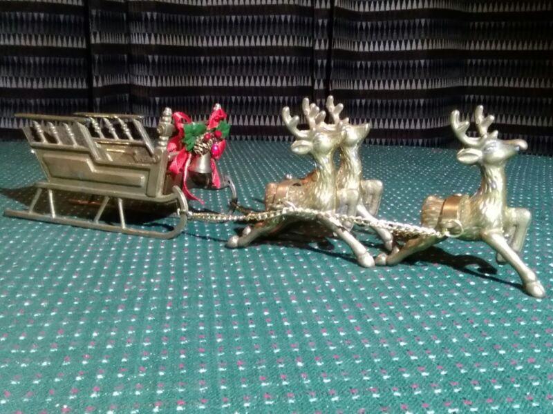 "Vintage Christmas Brass Sleigh w 3 Reindeer Made in Taiwan 6 1/4""L Sleigh"
