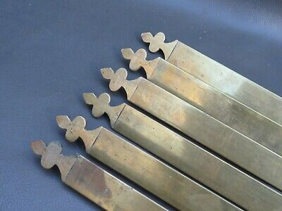 6 vintage brass stair carpet rods with trefoil ends