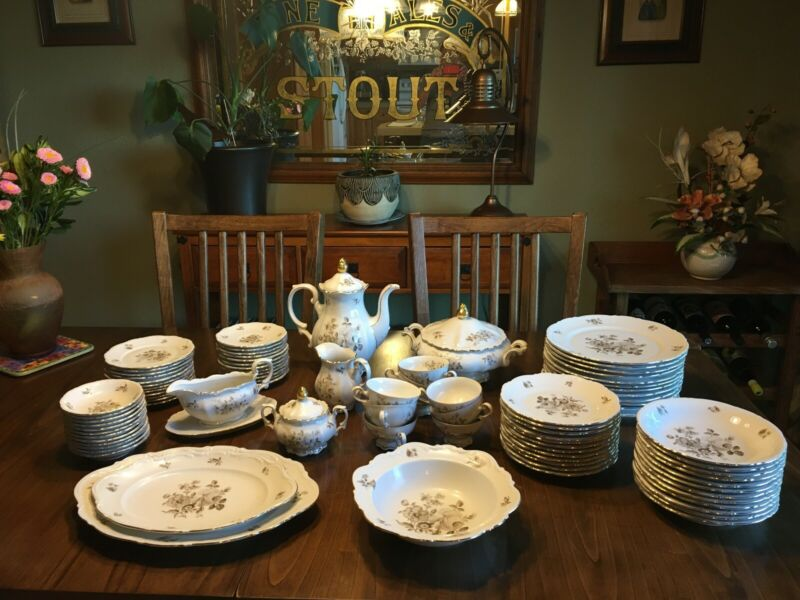 "Mitterteich Bavaria ""Charming Barbara"" China, service for 12 with serving pieces"