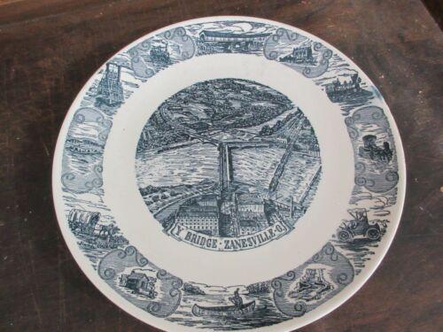"Kettlesprings Kilns 10"" Plate 2293-S Y Bridge Zanesville OH."
